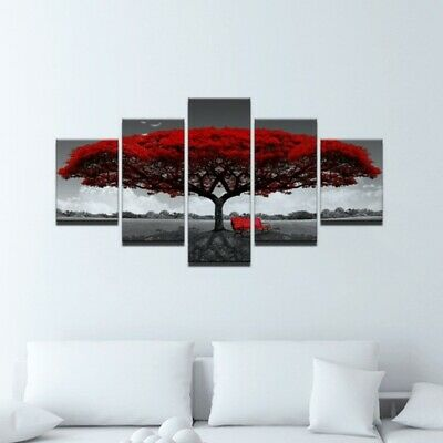 5Pcs Red Tree Modern Canvas Oil Painting Wall Art Home Picture Print Decor