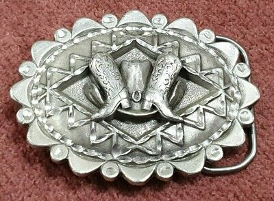 Solid Fine Pewter Belt Buckle Cowboy Boots & Hat Made In Usa