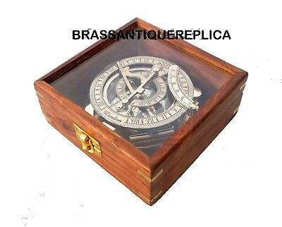 4 Inch Chrome Finish Brass ROYAL  Nautical Clock Sundial Compass W/ Wooden Box