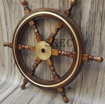 """24""""Wooden Ship Steering Wheel Pirate Decor Wood Brass Wall Boat Captain"""