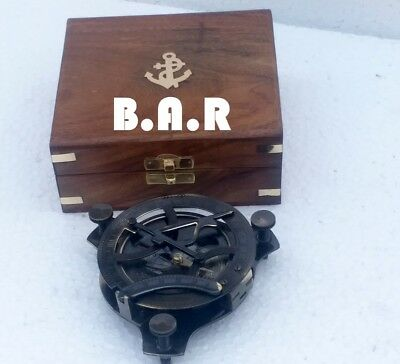 "4"" Solid ANTIQUE Brass Sundial Compass With Wooden Box Handmade Table Top DECOR"