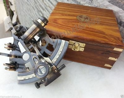 Antique Brass Collectible German Astrolabe Marine Nautical Sextant & Wooden Box
