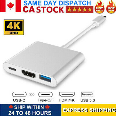 3IN1 USB 3.1 Type-C to 4k HD HDMI USB 3.0 HUB USB-C Charging Port Adapter Cable