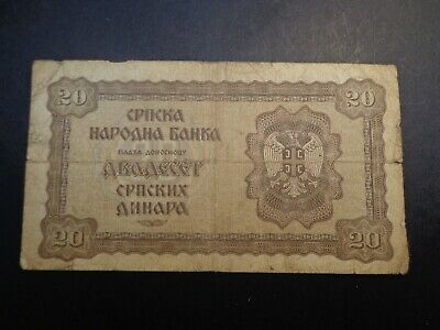 GERMAN.3rd REICH CROATION OCCUPIED 20 KUNA BANK NOTE -:-  CIRCULATED CONDITION.