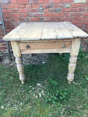 Antique Old Pine Table Kitchen Country Pantry Butchers Block Dining Cutlery Draw