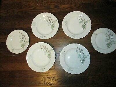 RARE!! FINE BOHEMIAN CHINA—Blue Floral Ivy set of 4 soup bowls AND 2 salad plate