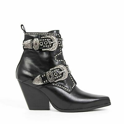NEW JEFFREY CAMPBELL WELTON-BKL Studded Buckle Western Boot Black Leather