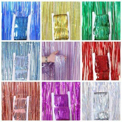 1-2M Self Adhesive Foil Fringe Tinsel Shimmer Curtain Happy Birthday Party IceLu