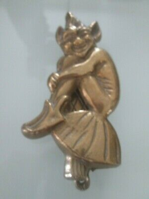 Large Old solid Brass Lucky Cornish pixie door knocker