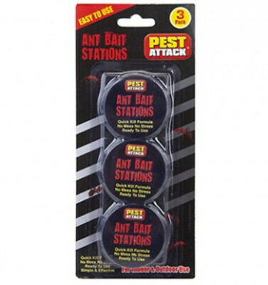 Pack Of 3 Ant Bait Stations Traps Quick Kill Formula Killer Indoor Outdoor Use.