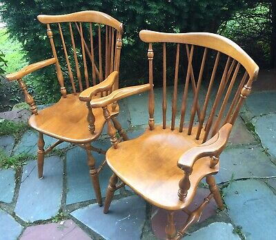 Ethan Allen Nutmeg Maple Windsor Armchairs (2)