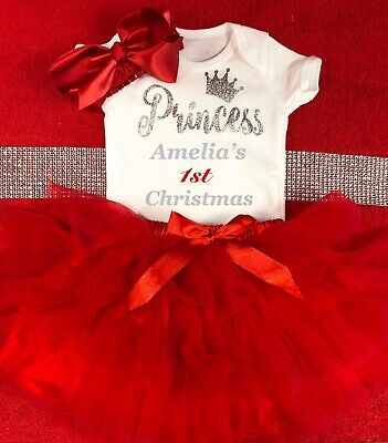 Personalised Christmas Shirt & Tutu Fabulous Bow Skirt Tulle Red Beautiful