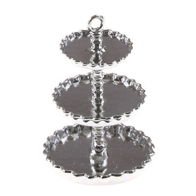 1/12 Dollhouse Miniature 3-Tier lord silver Metal Serving Dessert Plate Stand TS