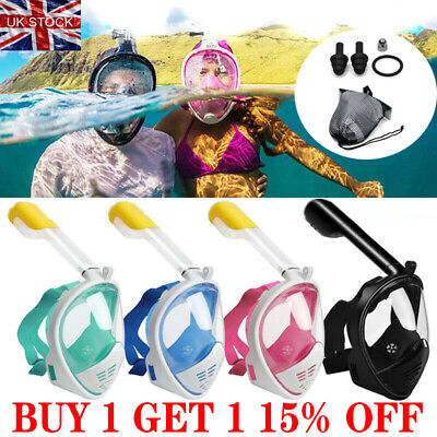 Anti-Fog Swimming Diving Full Face Mask Surface Snorkel Scuba Snorkeling Set SN