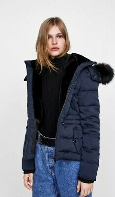 e8491520 ZARA WATER REPELLENT Duck Down Feather Long Puffer Coat Quilted Faux ...