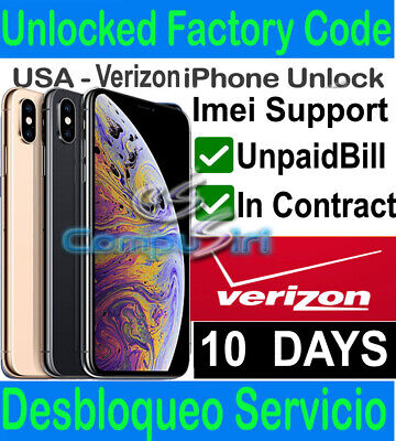 VERIZON Unlock Service iPhone X XR XS XS MAX 7 8 In Contract Financed Premium