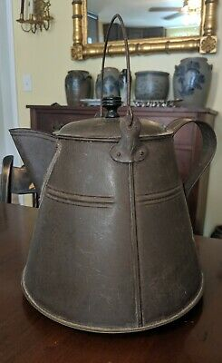 Antique American Tin Hot Water Kettle Copper Base Country Kitchen