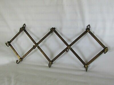 Antique Brass Finish Coat Hat Rack, Accordion, Expandable, Wall Mount, Rustic