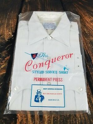 Conqueror Union Made Shirt Service Military White Short Sleeve Dead Stock Small