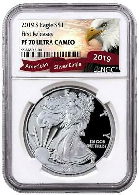 *BUY>1oz 2019-S Proof $1 Am Silver Eagle NGC PF70 UC First Releases *Eagle Label