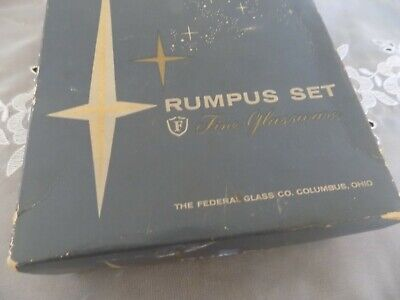 Vintage Rumpus Set Federal Glass Co. Set of 4 Shot Glasses Sportsman Game Birds