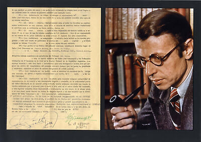 Jean-Paul Sartre NOBEL PRIZE LITERATURE autograph, document signed & mounted