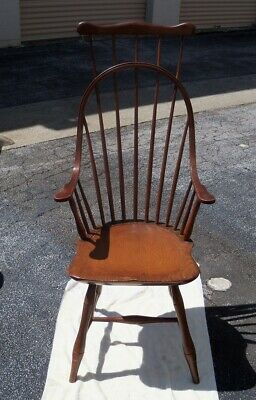 """rare comb-back antique Windsor arm chair, good cond, 45""""overall ht."""