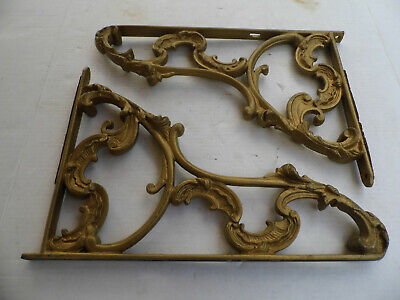 "Vintage Pair of Cast Iron Gold Gilt Shelf Brackets Large 17"" x 12"""