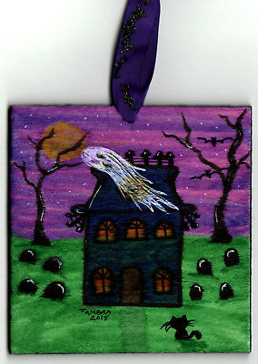 TAMBRA Halloween Ghost Black CAT Bats Original Folk Art Wood Painting ORNAMENT
