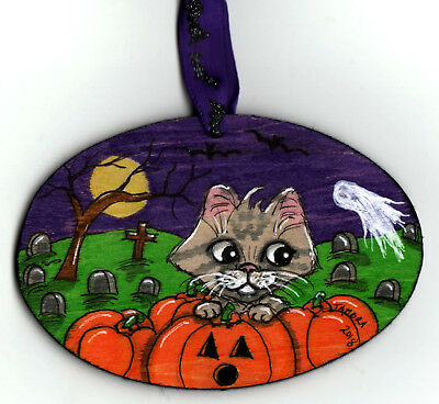 TAMBRA Halloween Pumpkins Grey CAT Bats Original Folk Art Wood Painting ORNAMENT