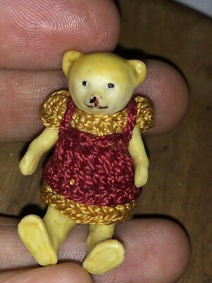 "RARE ANTIQUE ALL BISQUE HERTWIG Bear GERMAN Crocheted MINIATURE 2"" Bear NM+"