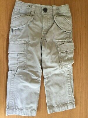 Baby Gap Toddler Boys Beige Cargo Trousers 100% Cotton 2 Years