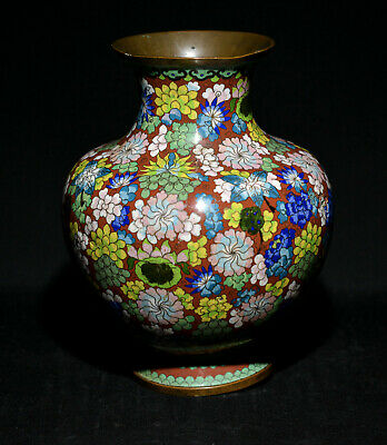Chinese antique export cloisonne vase - 10 inches tall - 🐘