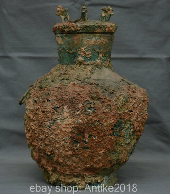 "16"" Antique China Old Bronze Ware Dynasty Beast Ring Food Wine Vessel Pot Vase"