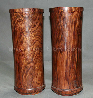 "12"" Old Chinese Huang Huali Pear Wood Calligraphy Container Brush Pot Pair"