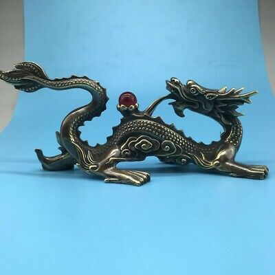 CHINESE ANCIENT PURE COPPER STATUE HAND-CARVED DRAGON STATUEg42