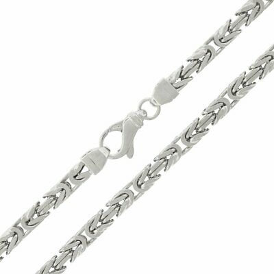 Sterling Silver 5mm Hollow Byzantine Box Link 925 Rhodium Necklace (26.0 Inches)