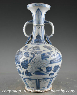 """13.6"""" Rare Old China Blue White Porcelain Dynasty Palace Crane Flower Sculpture"""
