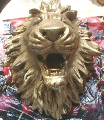 1 X S/H Gold Painted Fiberglass 3 Kg Lions Head Wall Hanging Or Ornament See Pic