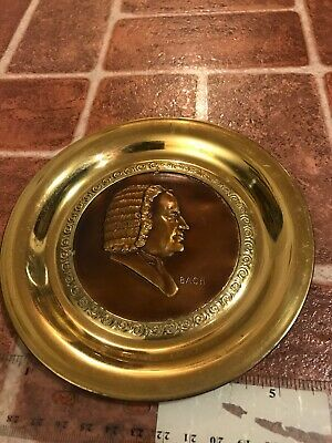Bach Music Composer Signed Solid Brass Made In England Hang Plate FREE SHIPPING