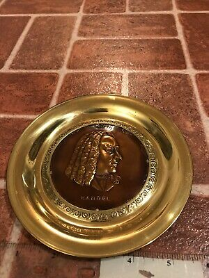 Handel Music Composer Signed Solid Brass Made In England Hang Plate FREE SHIP