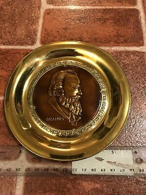 Brahms Composer Signed Solid Brass Made In England Hang Plate FREE SHIPPING