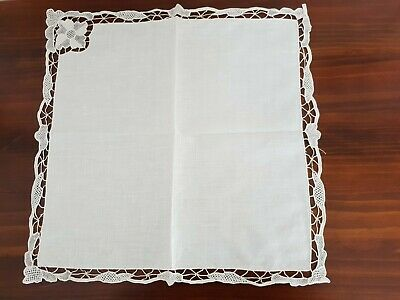 Vintage White Linen & Lace Table Napkins Brand New 6 in set