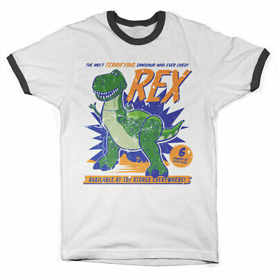 Officially Licensed Toy Story - REX The Dinosaur Ringer T-Shirt S-XXL Sizes