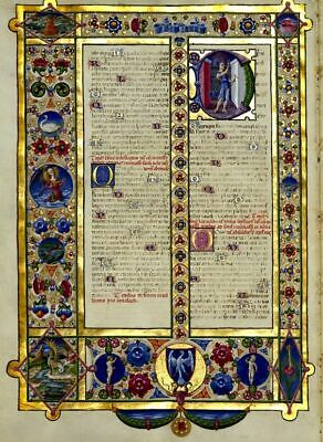 King David  Book of Hours -Page. Illuminated Manuscript  Accents in Gold. New
