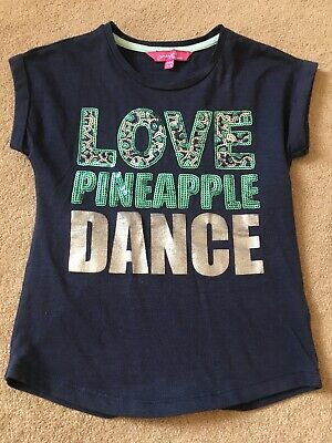Pineapple Girls Navy Love Pineapple Dance Sequin T Shirt Top - Age 4-5 Years