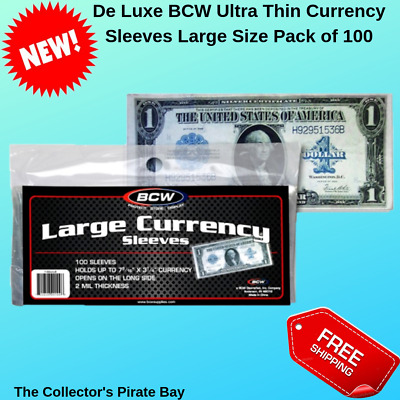 100 BCW Ultra Thin Banknotes Sleeves Large Size US Currency Bills Notes Holders
