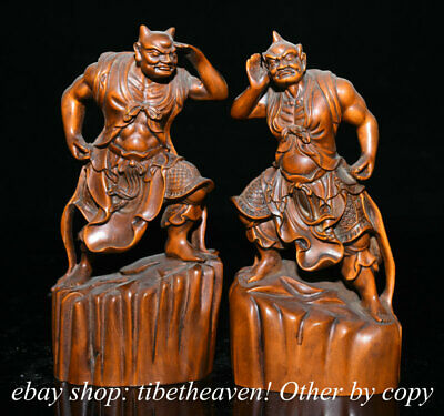 """7"""" Old Boxwood Carving Feng Shui Clairvoyance Clairaudience Door God Statue"""