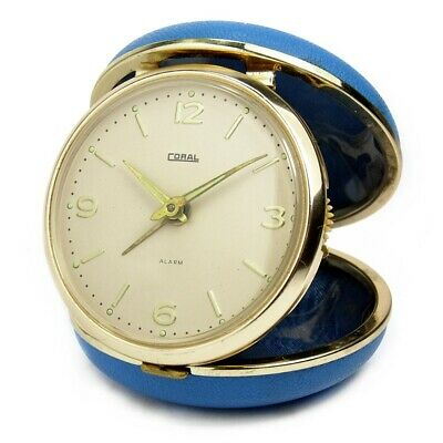Vintage 60s Baby Blue Folding Travel Alarm Clock with Mechanical Movement