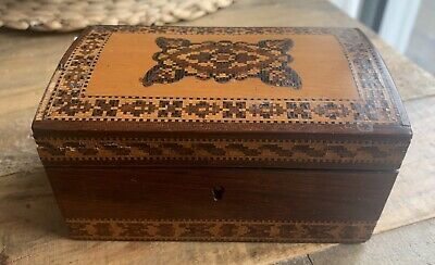 Antique Victorian Tunbridge Ware Inlaid Floral Box Wooden